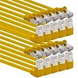 1aTTack.de - Cavo di rete Cat.6 a gomito 90° Cat6 (SFTP PIMF) 1000 Mbit/s RJ45 compatibile con Cat5, Cat5e, Cat6, Cat6a, Cat7, Cat7a, Cat8 10 Stück gelb 10 m
