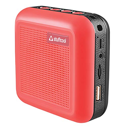 Stuffcool Theo Portable TWS (True Wireless Stereo) Bluetooth Speaker with Mic - Red