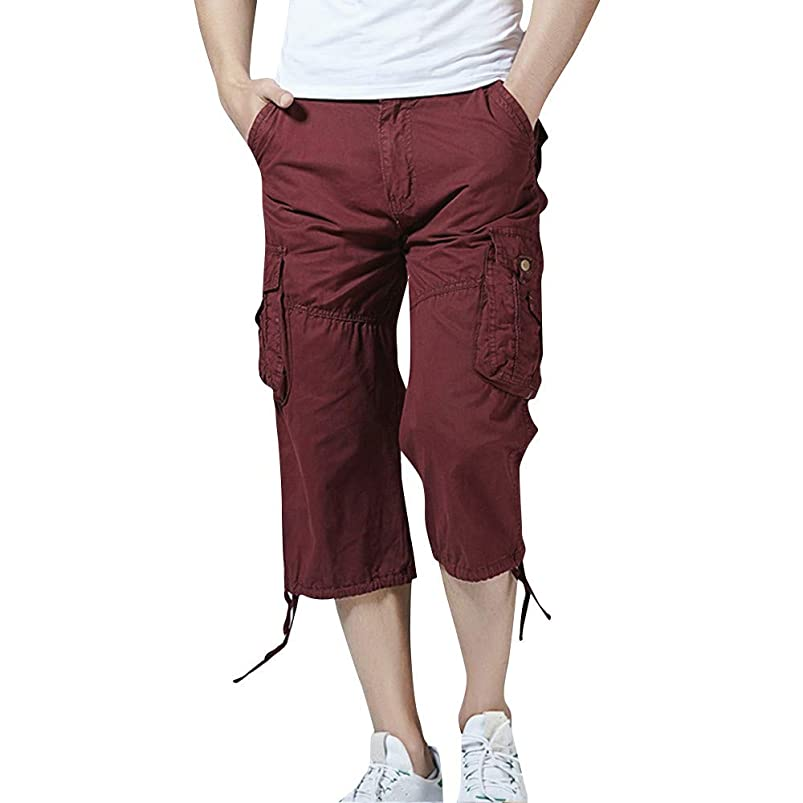 Men's Pant Casual Pure Color Cotton Outdoors Pocket Beach Shorts Pant sdbxoomw706657