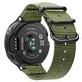 Fintie Armband kompatibel mit Garmin Forerunner 235/220 / 230/620 / 630 / 735XT Smart Watch - Nylon Uhrenarmband Sport Armband verstellbares Ersatzband mit Edelstahlschnallen, Olive