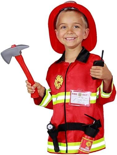 Matissa Ensemble de Jeu de rôle de Pompier d'enfants et Accessoires Chef de Pompier de Costume de Pompier