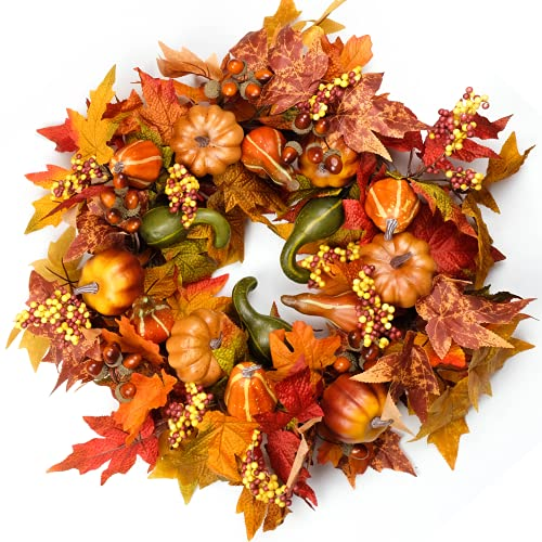 Fall Wreaths for Front Door 22 inch, with Pumpkin