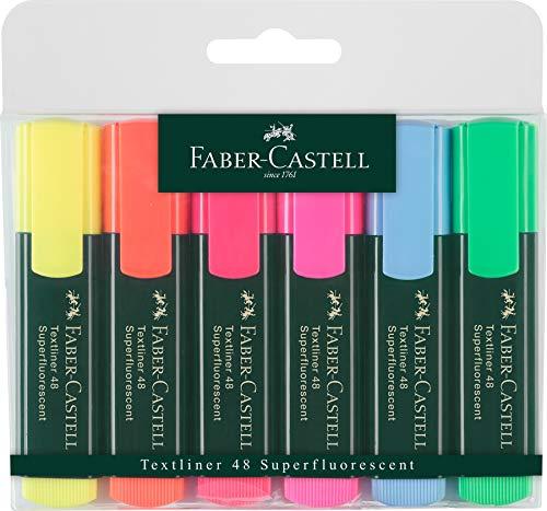 Faber-Castell 154806 - Estuche con 6 marcadores textliner, v