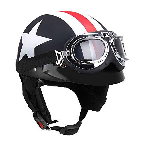 KKmoon Halb offener Motorradhelm mit Brille Visor Schal Biker Roller Helm f¨¹r Touring