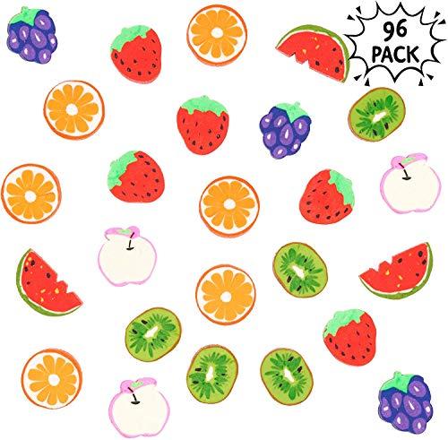 96 Mini Borradores de Frutas| No Tóxico y Ecológico| Pequeños Gomas de Borrar Divertidos para Niños (Kiwis Fresas Naranjas Melones Uvas Manzanas)| Cumpleaños Bolsas Fiesta Regalo Premios Escolares.