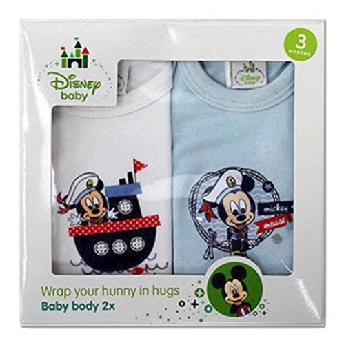 Disney Mickey Mouse Lot de 2 bodies à manches courtes en 100 % coton pour garçon Bleu/blanc
