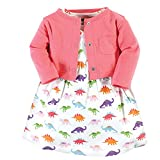 Hudson Baby Cotton Dress and Cardigan Set, Girl Dinosaurs, 18-24 Months