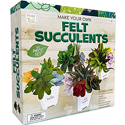 Hapinest Make Your Own Potted Felt Succulents | DIY Arts and Crafts Kit for Adults, Teens and Kids Girls Ages 6 7 8 9 10 11 12 Years Old and Up | Art Project Gifts | Hobbies for Women by Island Genius
