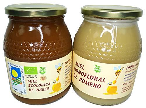 Miel Ecológica de Brezo y Miel de Romero monofloral 2 tarros de cristal de 1 kilo cada uno con la Mejor Miel Ecológica de Brezo y la Mejor Miel de Romero de España al mejor precio