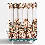 Lush Decor Clara Duschvorhang – Stoff, bunt, Boho-Paisley-Damast-Druck, 183 x 183 cm, Türkis und Mandarine
