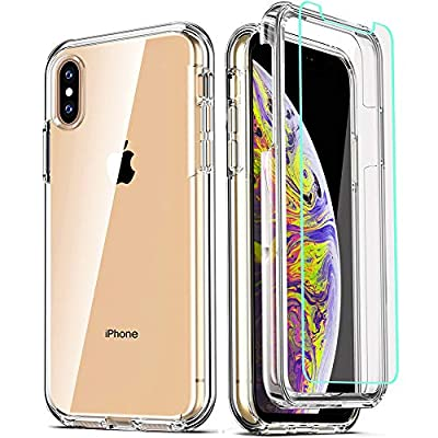 COOLQO Compatible for iPhone X Case/iPhone Xs Cases 5.8 Inch, with [2 x Tempered Glass Screen Protector] Clear 360 Full Body Coverage Silicone [Military Protective] Shockproof Phone Cover