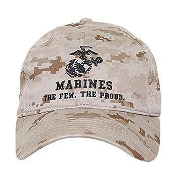 Desert Camo United States US Marine Corp USMC Marines Polo Relaxed Cotton Low Crown Baseball Cap Hat - Black