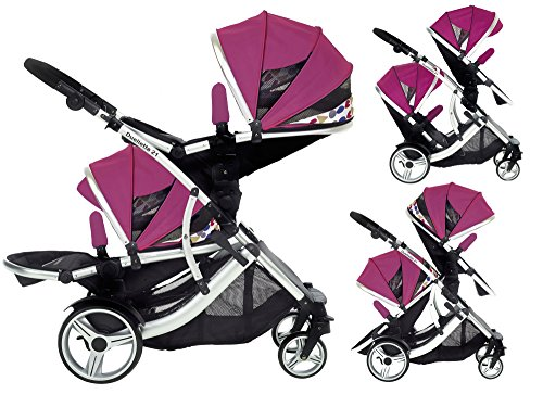 Duellette 21 BS Double Twin Pushchair with 2 footmuffs and Free...