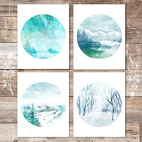 Watercolor Winter Landscapes Art Prints (Set of 4) - Unframed - 8x10s