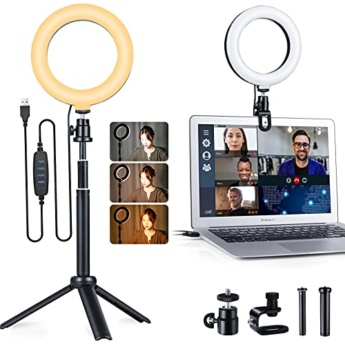 """Ring Light for Laptop Computer, 6"""" Zoom Light for Video Conferencing/Recording, USB Powered LED Desk Light Ring with Clamp Mount Clip and Adjustable Tripod Stand for Selfie/Live/Photography/Makeup"""