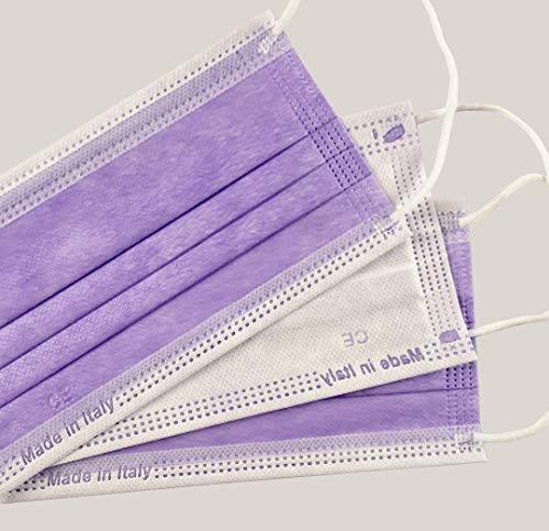 Protezionipiù Mascherine Chirurgiche Viola - 10 Mascherine Chirurgiche Certificate COLORATE per Bambini – 100% MADE IN ITALY- Mascherine A 3 Strati - Bustina Da 10 Pezzi - CERTIFICATE CE (Viola)