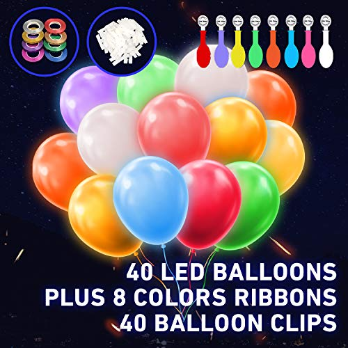 FANLN LED Light Up Balloons 40 Pack, Glow in Dark Party Supplies Decorations, Fillable with Helium, Lasts 12-24 Hours, Flashing Light Ornaments for Birthday, Wedding, Festival, Christmas