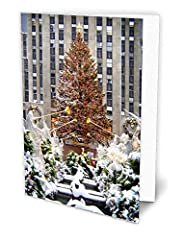 Unique Christmas card fashioned out of rich linen paper. Card comes with a Holiday Red Invitation Style Envelope Card size - 5 x 7 inch. Our premium quality linen paper takes a pen beautifully Blank inside. The inside of each card has ample space pro...