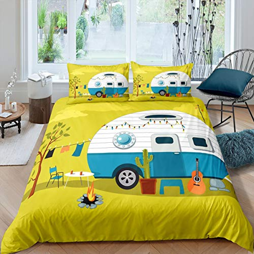 Erosebridal Cactus Duvet Cover, Guitar Comforter Cover Twin Size Hawaiian Vacation Cartoon Quilt Cover for Kids Girls Boys Teens Car Traveling Vintage Camper Fire Pit Bedding Set, Yellow