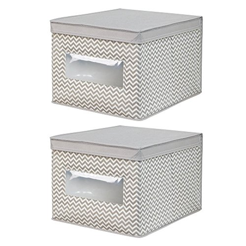InterDesign Chevron Fabric Closet Organizer Box – Soft Storage Bin for Clothing, Shoes, Handbags, Linen - Large, Taupe/Natural, Set of 2