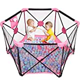 Hello-5ive Baby Playpen, Foldable & Portable Kids Fence with Carry Bag, Breathable Mesh, Toddler Safety Play Yard with Storage Bag, Large Activity Centre for Boys Girls, Indoor Outdoor (Black&Pink)