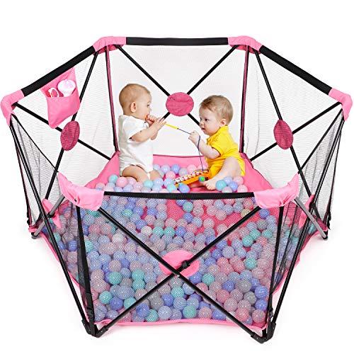 Baby Laufstall, Laufgitter, Kleinkind 6-eckig Krappelgitter mit atmungsaktivem Netz, Faltbar und Tragbar für drinnen und draußen (schwarzrosa)