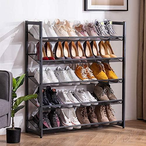 Apicizon 5 Tier Metal Shoe Rack 20 25 Pairs Adjustable Shoe Organizer from Slant to Flat Stackable product image