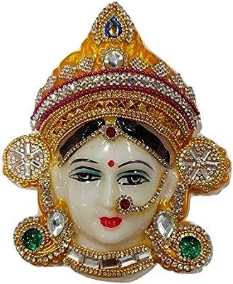 Reliable Polyfibre Goddess Mata Maha Lakshmi (Laxmi) Devi Ma Face/Santoshi Maa Mukhota/Margashirsha Laxmi Face For Puja/Varalakshmi Vrath Puja, Multi