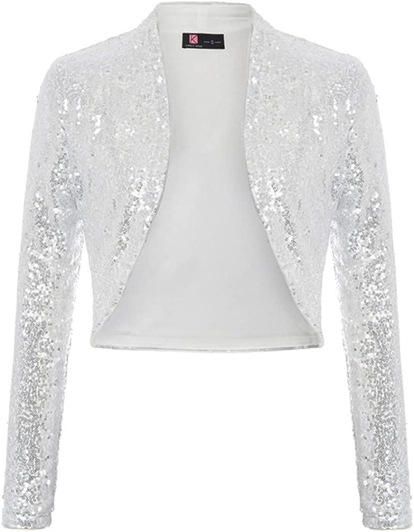 Women Sequined Bolero Shrug Long Sleeve Open Front Sparking Sequins Vintage Slim Solid Coats