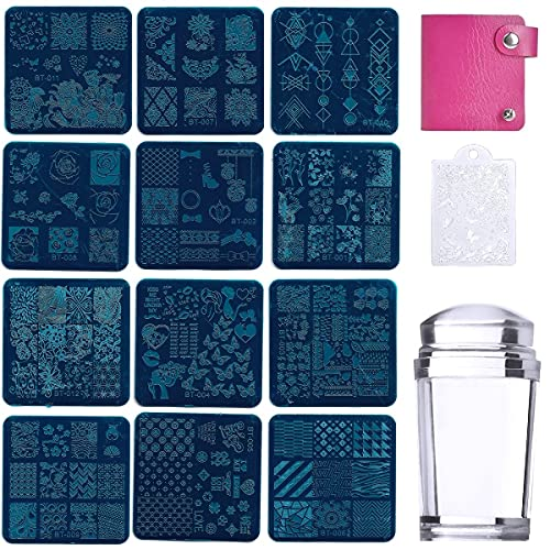 KARLOR - Juego de plantillas para uñas, 12 unidades, 110 diseños de uñas, placas de estampar con placas de metal, sello, rascador, plantilla, tatuaje de...