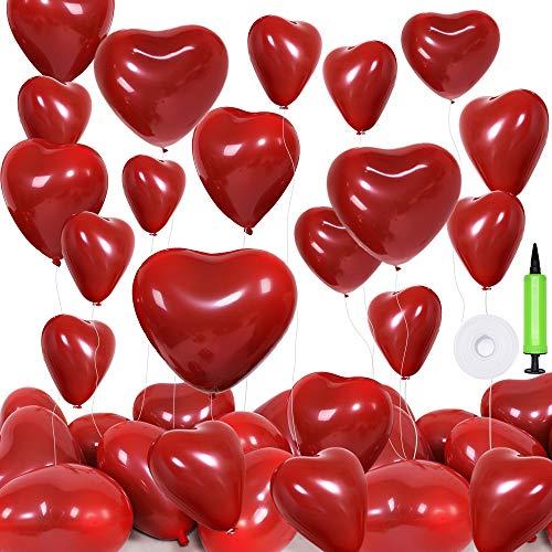 Globos de Corazón Rojo, hicoosee 12 Pulgadas Látex Helio Globos Románticos con Cinta Blanca y Bomba para el Día de San Valentín, Boda, Despedida de Soltera 50 Piezas