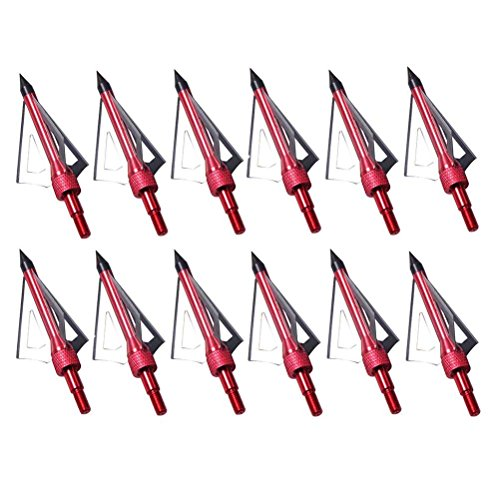 PG1ARCHERY 12 Pack 3 Fixed Blade Archery Hunting Broadheads 100 Grain with Case Arrow Head Screw-in Tips for Compound Bow & Crossbow Red