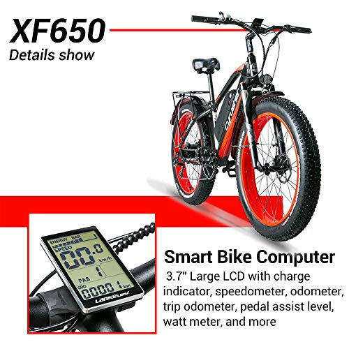 Cyrusher XF650 Electric Bike 1000W Mountain Bike 26 * 4inch Fat Tire Bikes 7 Speeds Ebikes for Adults with 13Ah Battery (Green)