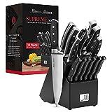 15-Piece Premium Kitchen Knife Set With Wooden Block | Master Maison German Stainless Steel Cutlery...
