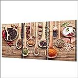 Lona 3 Panel Cuchara Granos Especias Pintura Poster De Estar Cocina Decoración Decoración Arte De La Pared Y La Pintura Imprime HD Comidas Imagen Sin Enmarcado De La Lona (Size (Inch) : 50x70cmx3p)