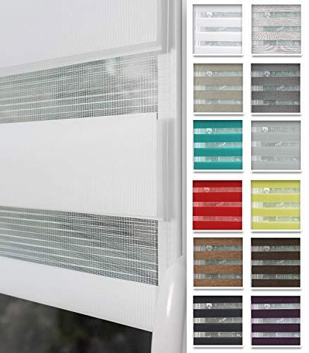 Home-Vision® Duo Rollo nach Maß, Doppelrollo ohne Bohren mit Klämmträgern, Rollos für Fenster und Türen (Weiß, B76-80cm x H150cm)