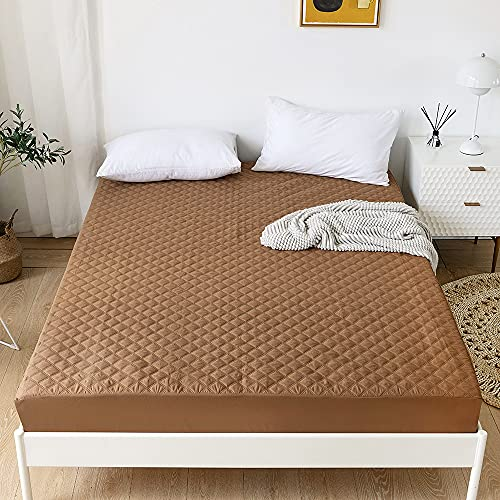 ARYURBU Waterproof Mattress Protector Cover Brown Queen Fitted Sheet Quilted Pad Cover with Deep Pocket - for Kids, Adult, Elderly (Brown, Queen)