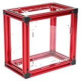 Caja de PC de marco abierto, chasis de computadora de bricolaje de aleación de aluminio de diseño abierto ITX Chasis de computadora para enfriamiento de agua, tamaño ensamblado de 235x250x290(rojo)