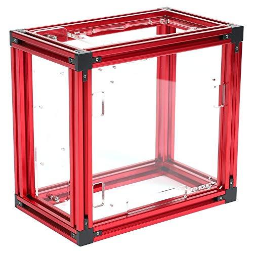 Exliy ATX Gaming Computer Case Soporte Sistema de refrigeración por Agua, ITX Motherboard Test Bench Marco al Aire Libre Computer Case Soporte de Aluminio DIY Bare Frame(Rojo)