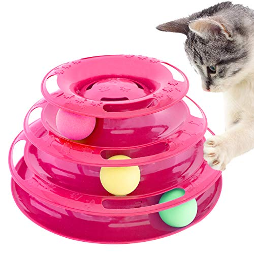 Purrfect Feline Titan's Tower - New Safer Bar Design, Interactive Cat Ball Toy, Exerciser Game, Teaser, Anti-Slip, Active Healthy Lifestyle, Suitable for Multiple Cats 3 Tier (Pink)
