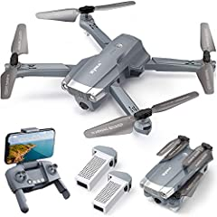2pcs Batteries&56mins Flying Time--EX500 quadcopter offer 2 batteries to give you up to 40 minutes immersive flying experience.Compared with other drones, we offer more flying time to enjoy it.what is more, 250g lightweight yet powerful save you from...