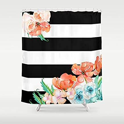 Floral Garden Watercolor With Black and white stripe Shower Curtain