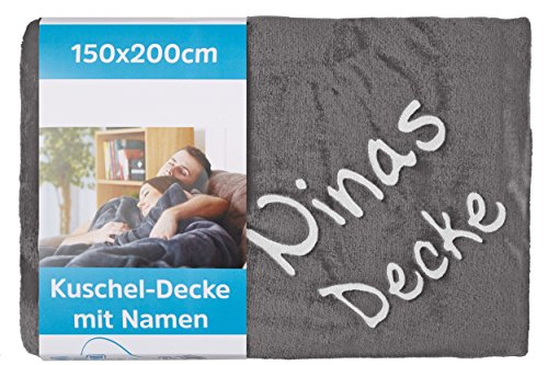 Wolimbo Wohndecke Kuscheldecke mit Namen Bestickt Farbe: anthrazit Größe: 200x150cm Flauschdecke