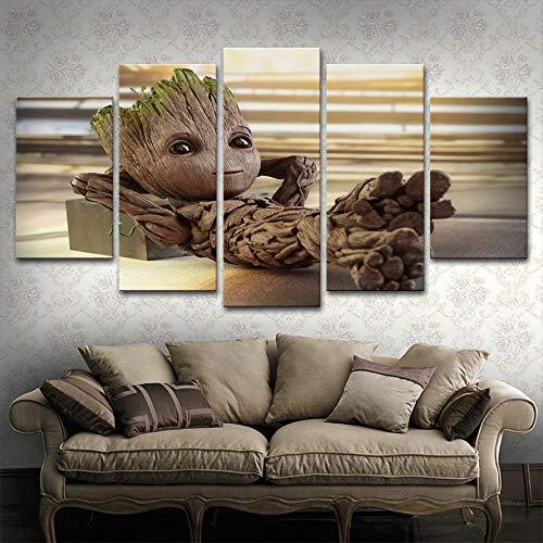 Leinwand Malerei Vintage Wandkunst Gedruckt Bilder 5 Panel Poster Baby Groot Foto Für Wohnzimmer Dekor(NO Frame size 1)