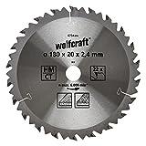 Wolfcraft 6734000 1 Lame de Scie Circulaire Ø 180 Mm, Ct, Alésage 20 Mm, 22 Dents, Surface Poncée, Denture Sablée Et Alternée