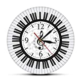 hufeng Reloj de Pared Teclado de Piano Redondeado Clave de Sol Arte de la Pared Reloj de Pared de acrílico Impreso Notas Musicales Reloj de Pared Estudio de música Decoración Regalo de Pianista