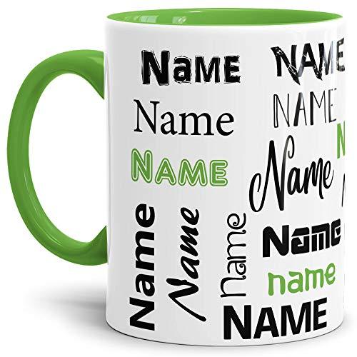 Tasse mit Name - Individuell/Personalisiert/Geschenk-Idee/Schön/Hellgrün