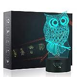 3D Eule Nachtlicht,7 Farben Berührungssteuerung Zuhause Dekor Tischleuchte,Optische Illusion LED Nachtlampe USB Tischlampe, für Kinder Weihnachten Geburtstag beste Geschenk Spielzeug