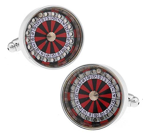 Roulette Manschettenknöpfe in einer luxuriösen Präsentationsbox. Neuheit. Kasino. Glücksspiel. Spaß. Thema Schmuck