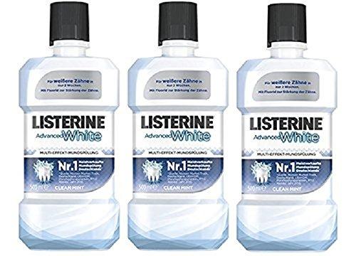 LISTERINE Advanced White – LISTERINE Mundspülung mit Whitening-Effekt – Für gesunde Zähne – 3er Pack (3 x 500 ml)